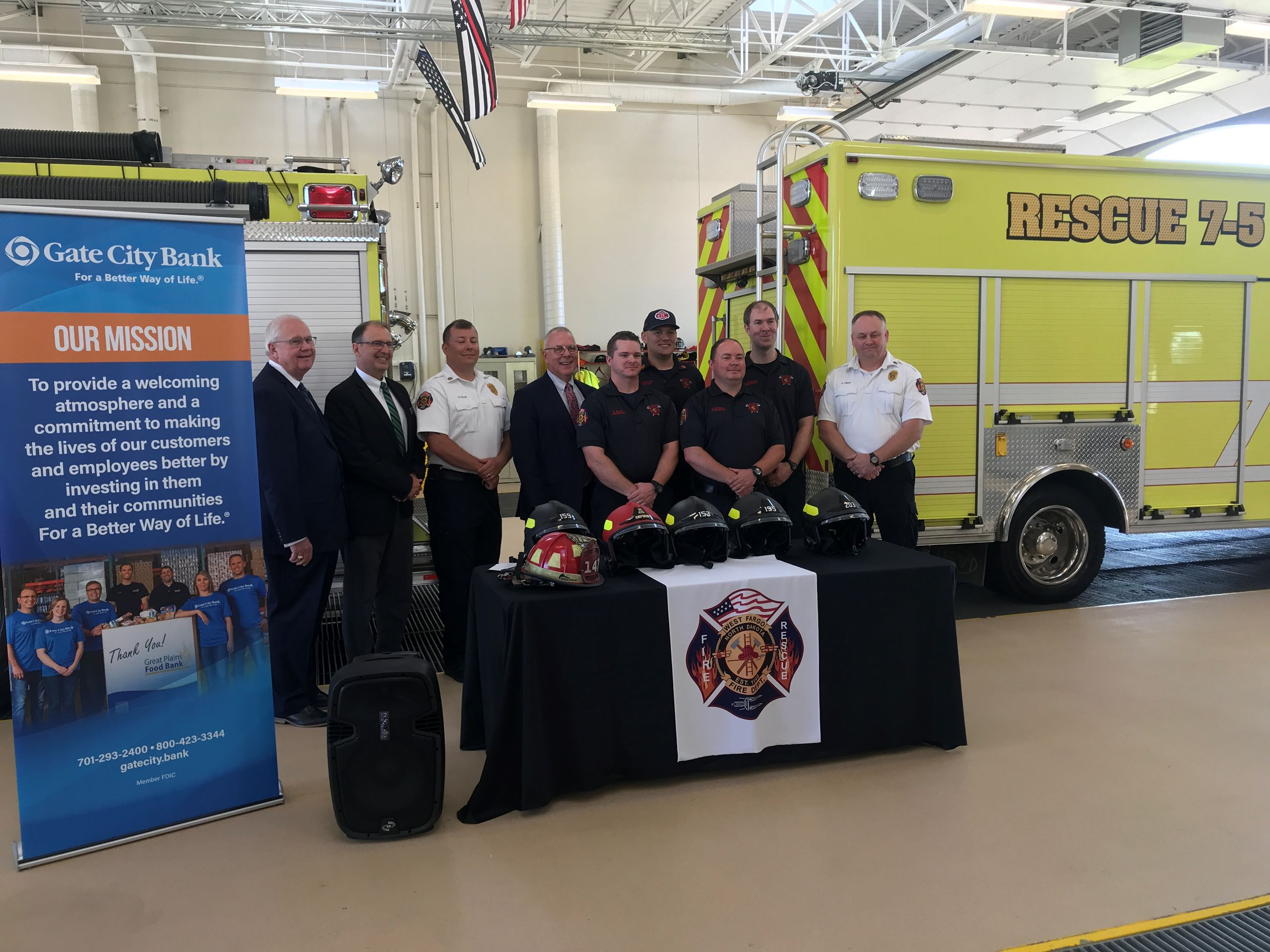 Gate City Bank and WFFD helmet announcement