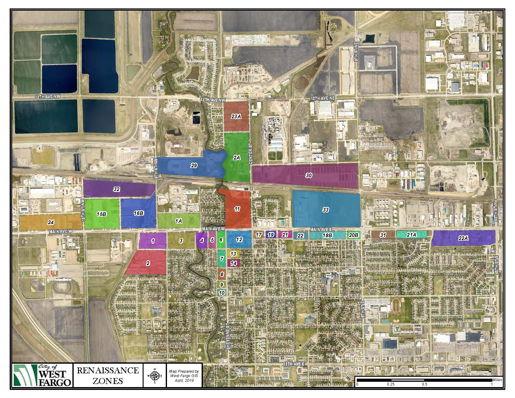 Map of blocks designated as Renaissance Zones in the City of West Fargo