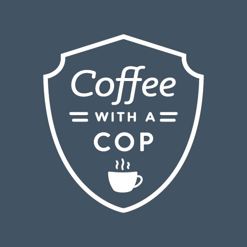 Coffee with a Cop logo with white background and dark blue