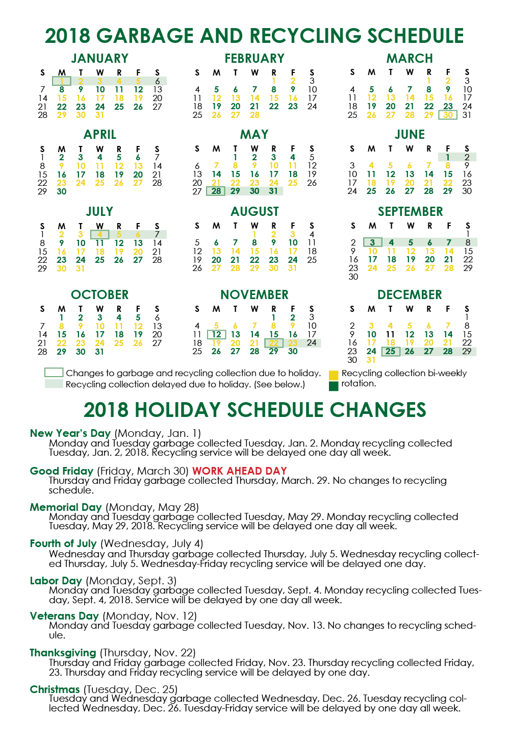 2018 Holiday Schedule Chart