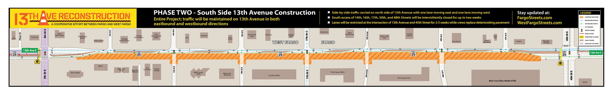 13th Avenue Reconstruction Phase2 traffic map